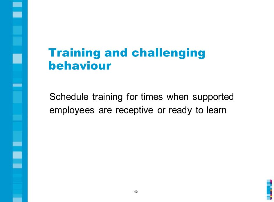 Training and challenging behaviour Schedule training for times when supported employees are receptive or ready to learn 40