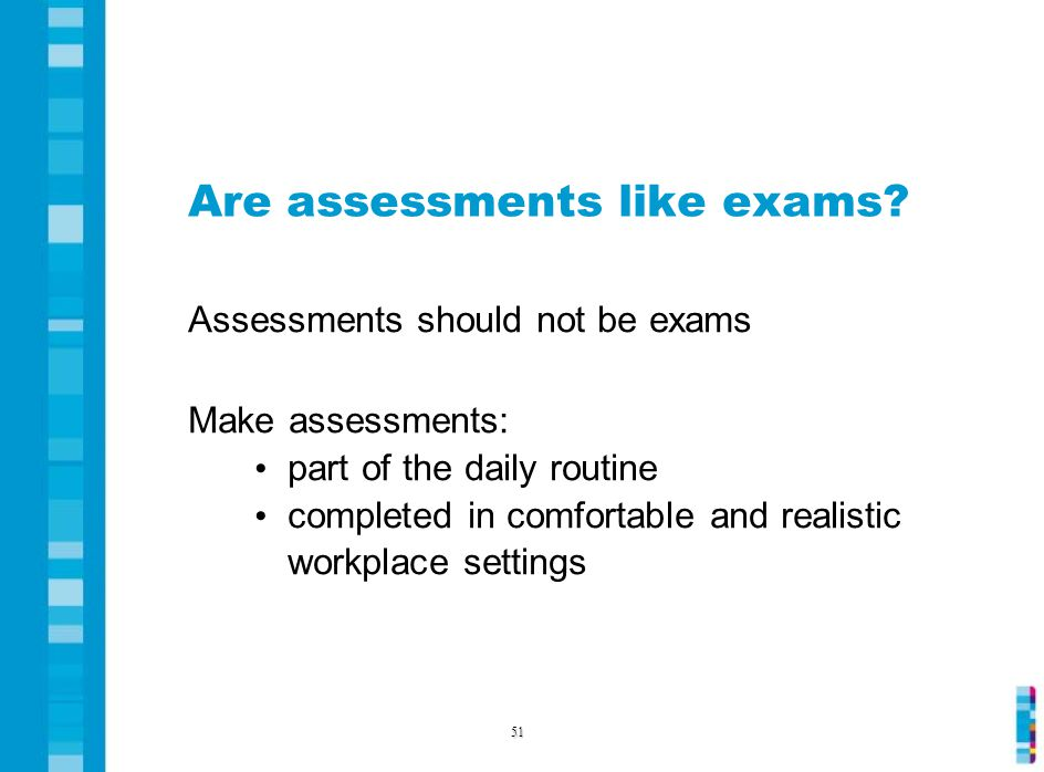 Are assessments like exams.