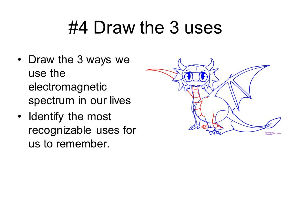 #4 Draw the 3 uses Draw the 3 ways we use the electromagnetic spectrum in our lives Identify the most recognizable uses for us to remember.