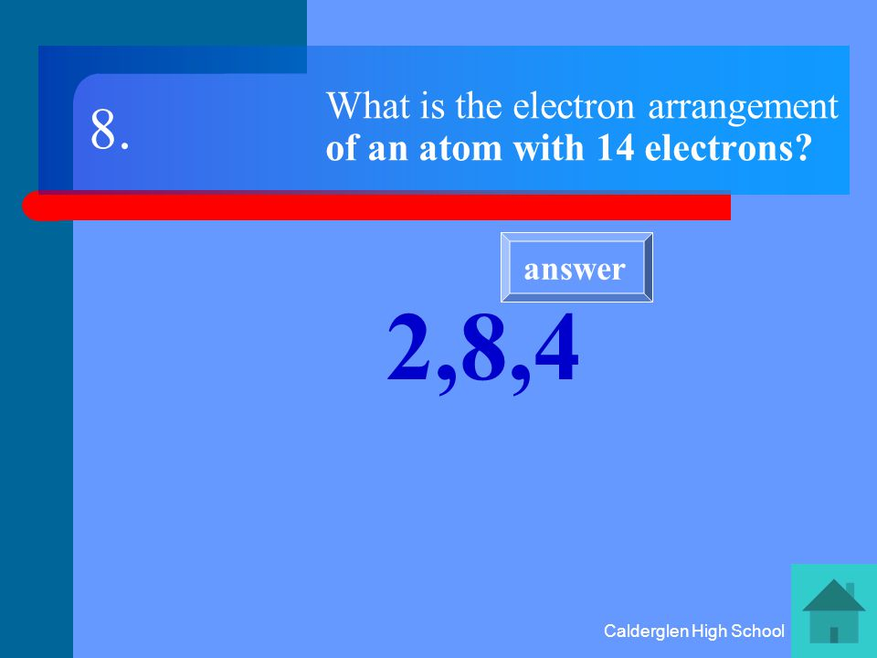 Calderglen High School What charge has the centre of an atom Positive charge 7. answer