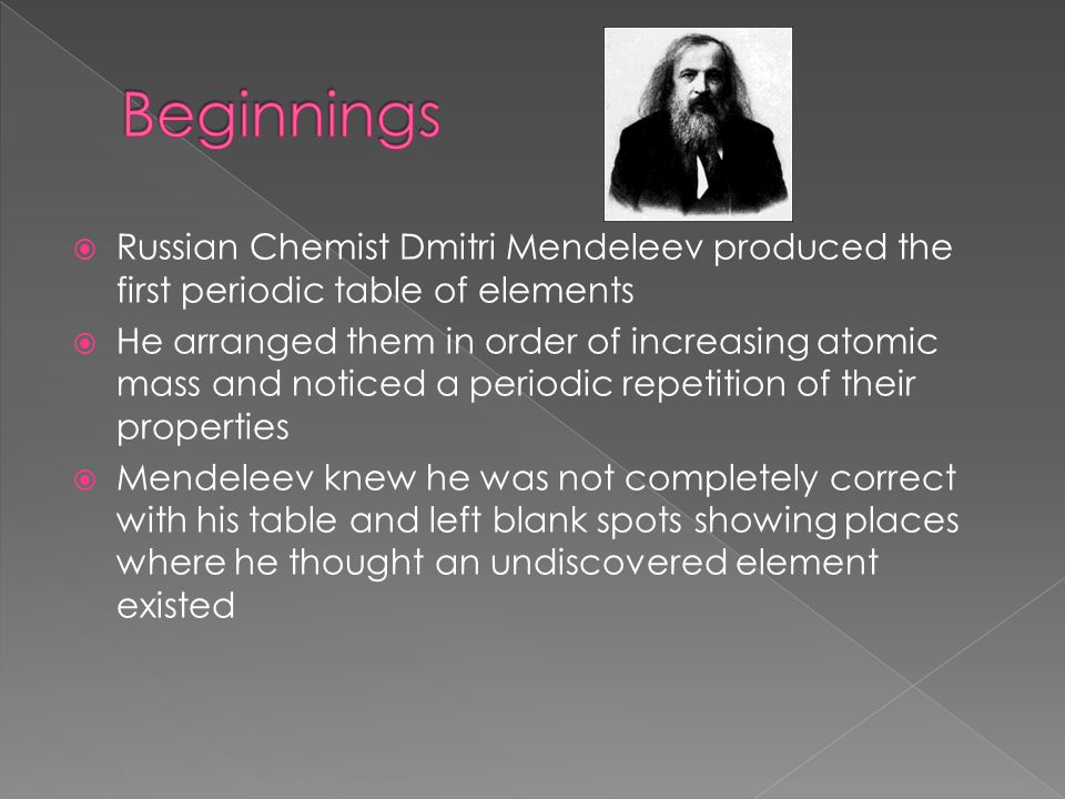 an introduction to the life of dmitri mendeleev Dmitri mendeleev was born in the 8th of february 1834 grew up in verkhnie aremzyani, serbia he grew up as a catholic, but later on he became a deism this is a belief in which you find an existence of a creator by studying nature.
