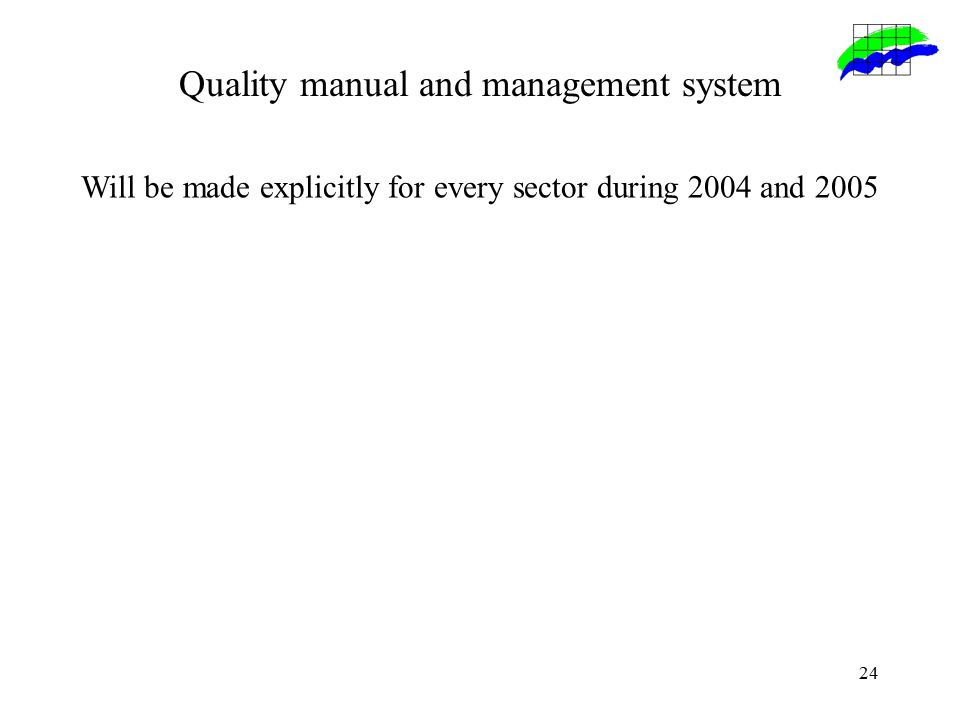24 Quality manual and management system Will be made explicitly for every sector during 2004 and 2005