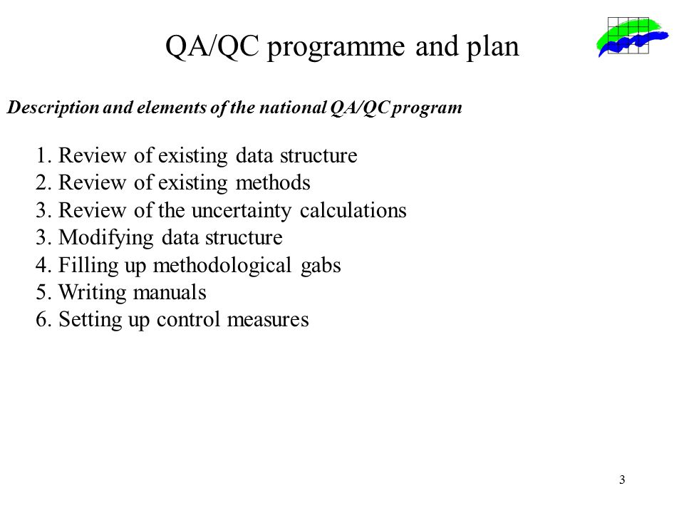 3 QA/QC programme and plan Description and elements of the national QA/QC program 1.