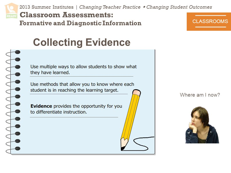2013 Summer Institutes | Changing Teacher Practice  Changing Student Outcomes Classroom Assessments: Formative and Diagnostic Information CLASSROOMS Collecting Evidence Where am I now