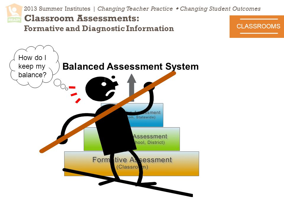 2013 Summer Institutes | Changing Teacher Practice  Changing Student Outcomes Classroom Assessments: Formative and Diagnostic Information CLASSROOMS Balanced Assessment System How do I keep my balance
