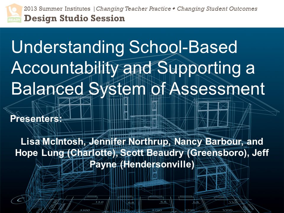 2013 Summer Institutes |Changing Teacher Practice  Changing Student Outcomes Design Studio Session Understanding School-Based Accountability and Supporting a Balanced System of Assessment Presenters: Lisa McIntosh, Jennifer Northrup, Nancy Barbour, and Hope Lung (Charlotte), Scott Beaudry (Greensboro), Jeff Payne (Hendersonville)