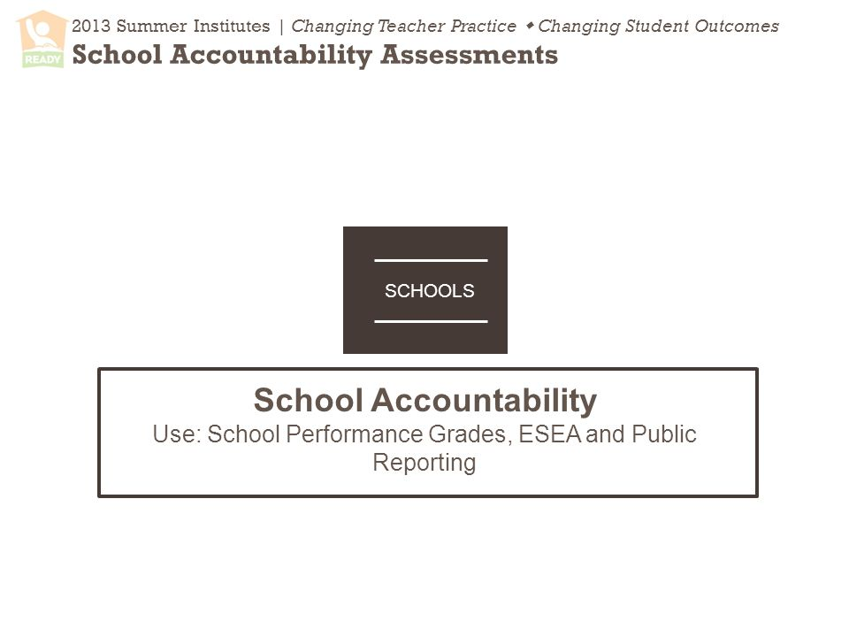 2013 Summer Institutes | Changing Teacher Practice  Changing Student Outcomes School Accountability Assessments School Accountability Use: School Performance Grades, ESEA and Public Reporting SCHOOLS