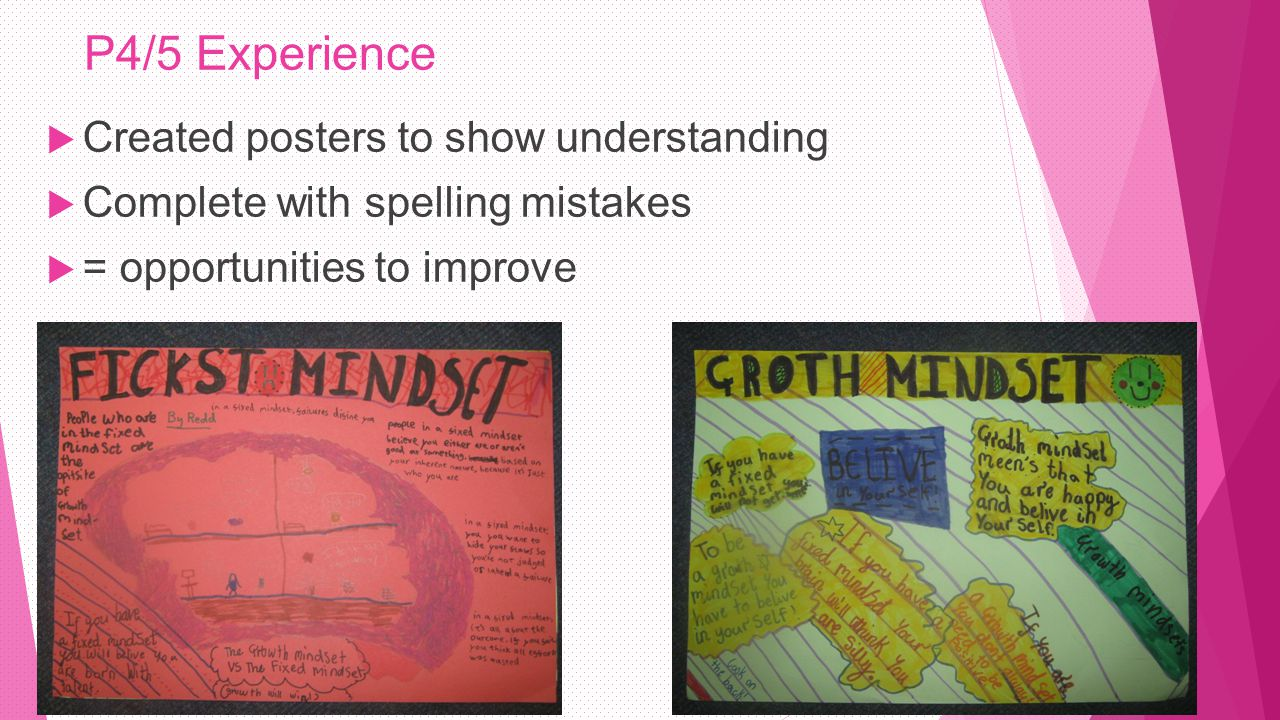 P4/5 Experience  Created posters to show understanding  Complete with spelling mistakes  = opportunities to improve