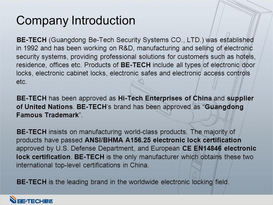 BE-TECH Company Profile  Company Information Date of Establishment