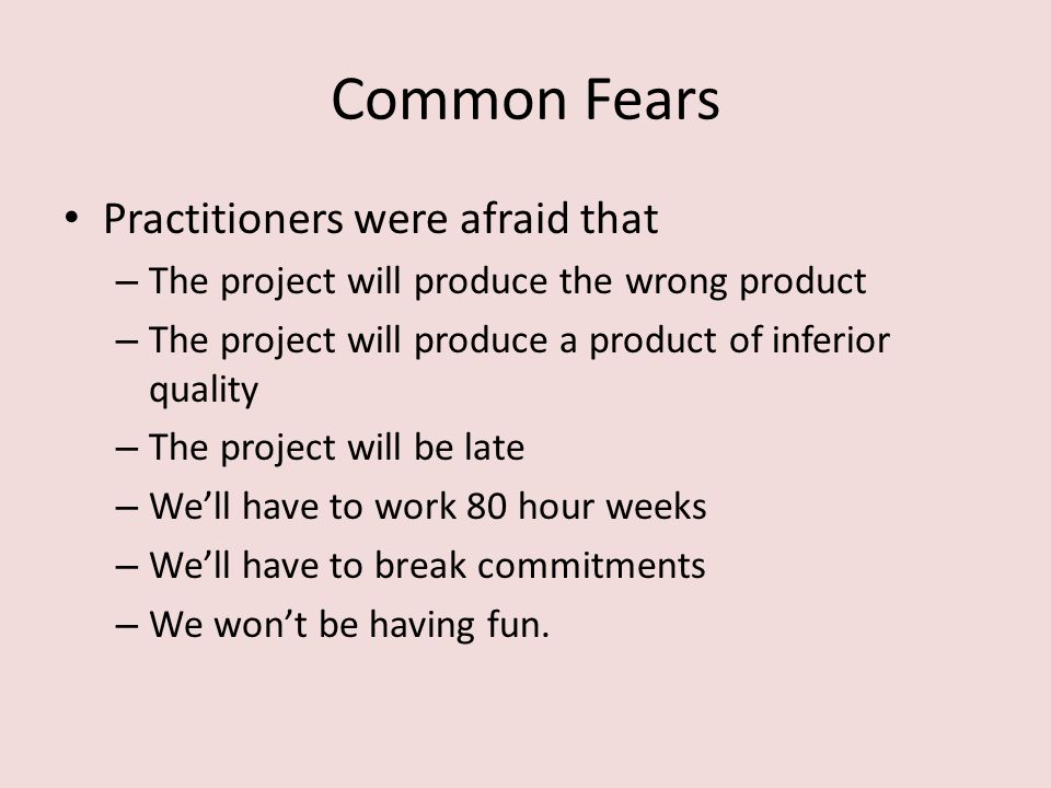 Common Fears Practitioners were afraid that – The project will produce the wrong product – The project will produce a product of inferior quality – The project will be late – We'll have to work 80 hour weeks – We'll have to break commitments – We won't be having fun.