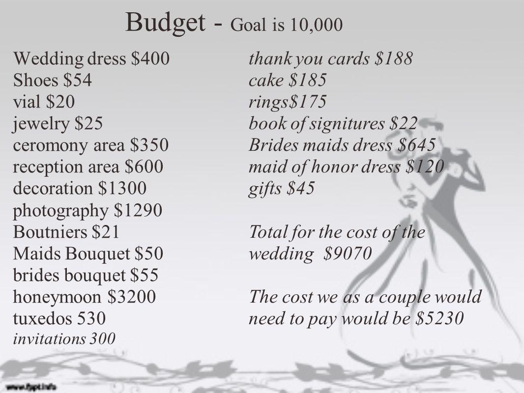 12 budget goal is 10000 wedding