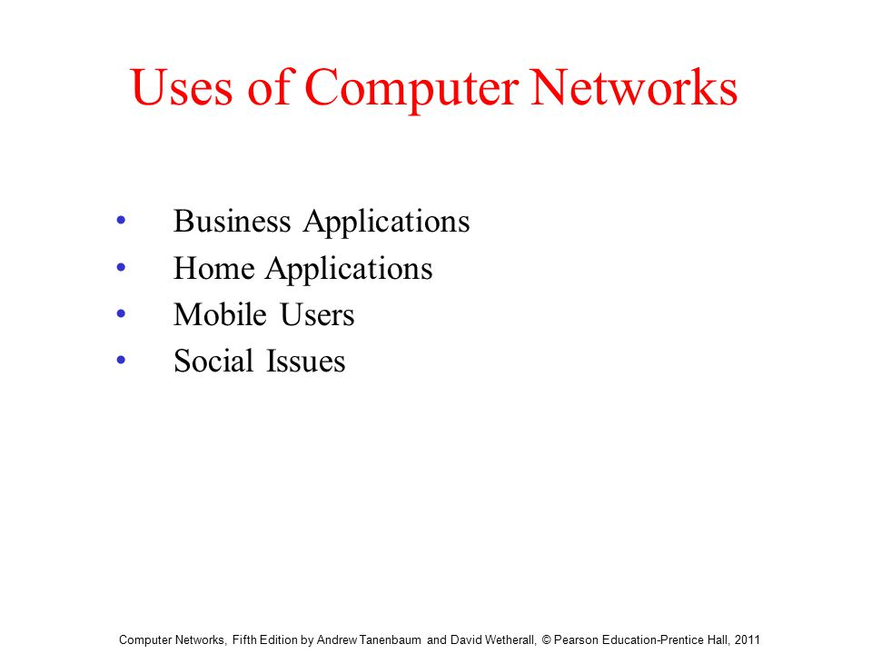 Introduction Chapter Computer Networks, Fifth Edition by