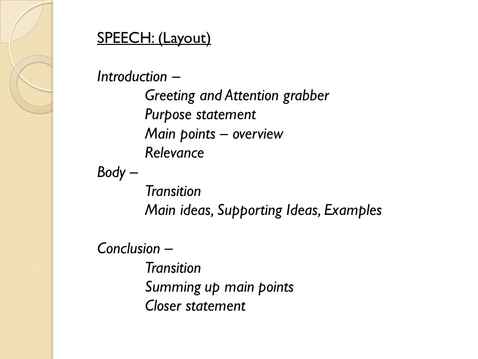 Important discourses speech diary writing debate profile paragraph 2 speech layout introduction greeting and attention grabber purpose statement main points overview relevance body transition main ideas m4hsunfo