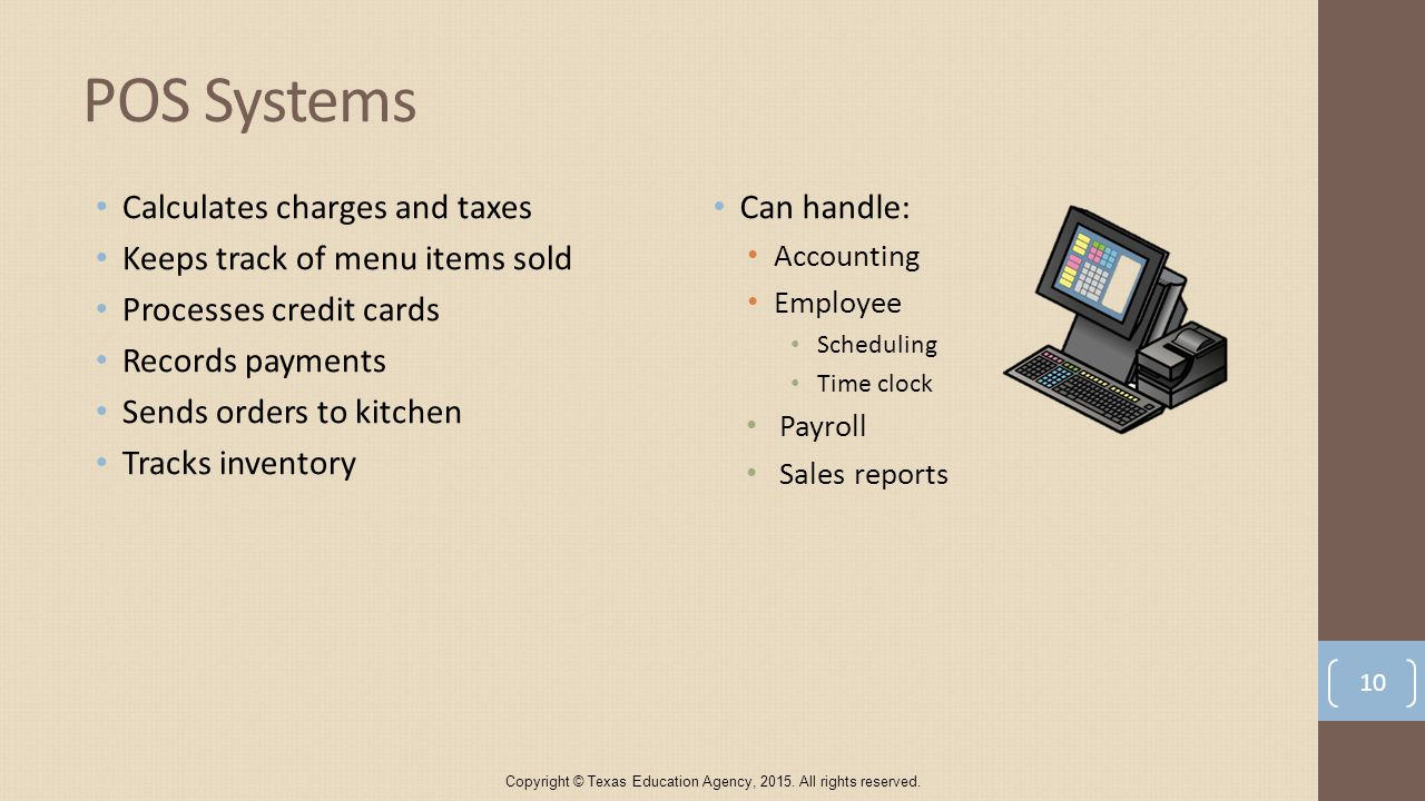 POS Systems Calculates charges and taxes Keeps track of menu items sold Processes credit cards Records payments Sends orders to kitchen Tracks inventory Can handle: Accounting Employee Scheduling Time clock Payroll Sales reports Copyright © Texas Education Agency, 2015.