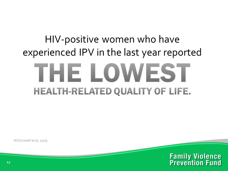 17 HIV-positive women who have experienced IPV in the last year reported McDonnell et al, 2005