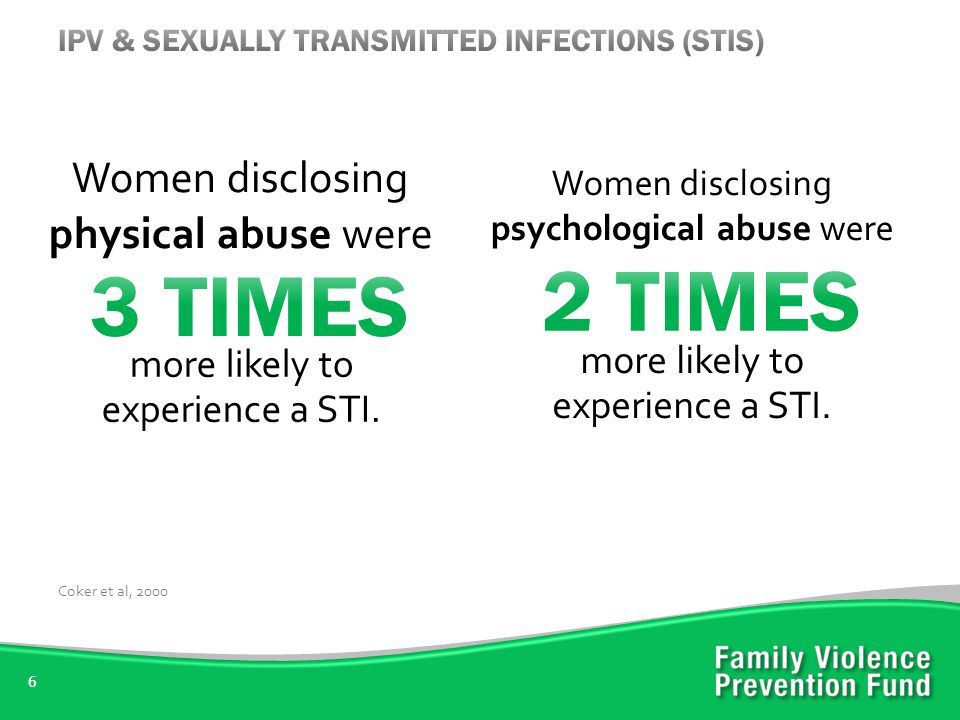6 Women disclosing physical abuse were Coker et al, 2000 more likely to experience a STI.