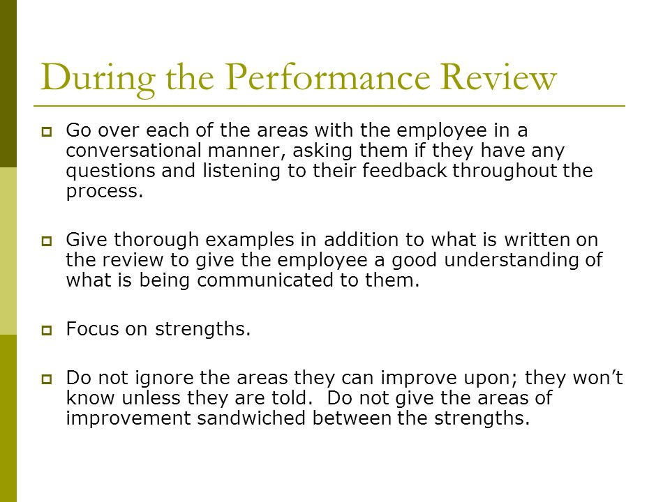 Performance Reviews The Performance Review Is A Summary Of The