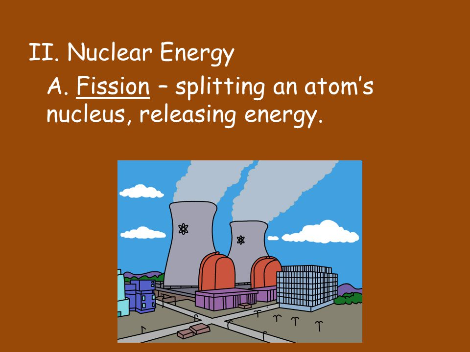 II. Nuclear Energy A. Fission – splitting an atom's nucleus, releasing energy.