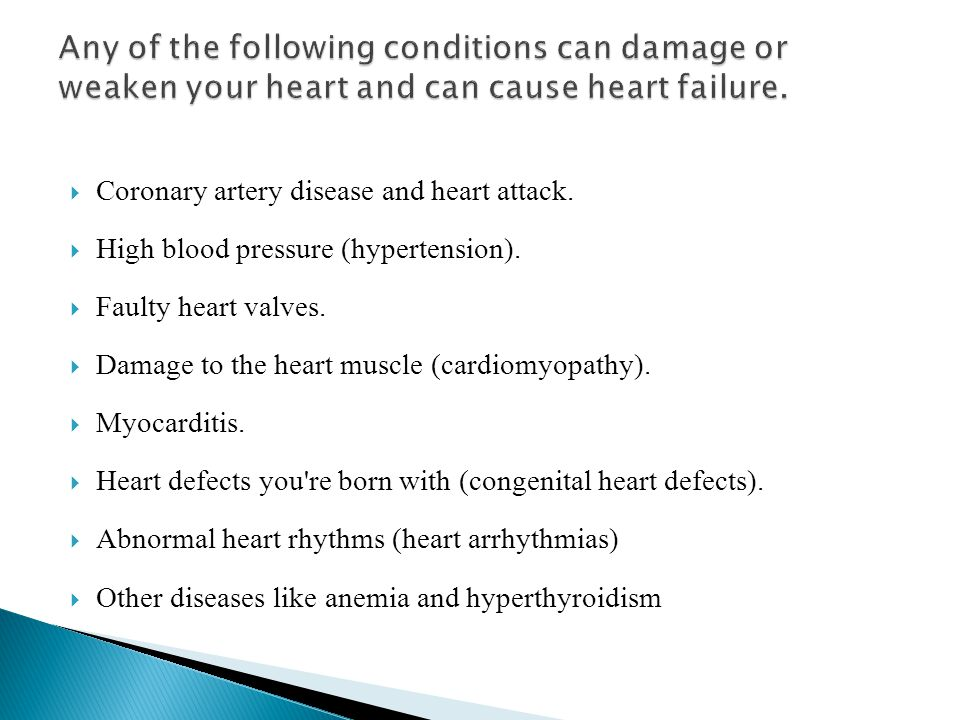  Coronary artery disease and heart attack.  High blood pressure (hypertension).