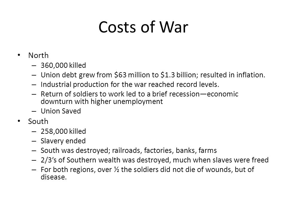 Costs of War North – 360,000 killed – Union debt grew from $63 million to $1.3 billion; resulted in inflation.
