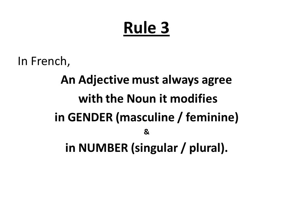 Agreement Of Adjectives Unit 1 Lesson 5 Parts Of Speech An