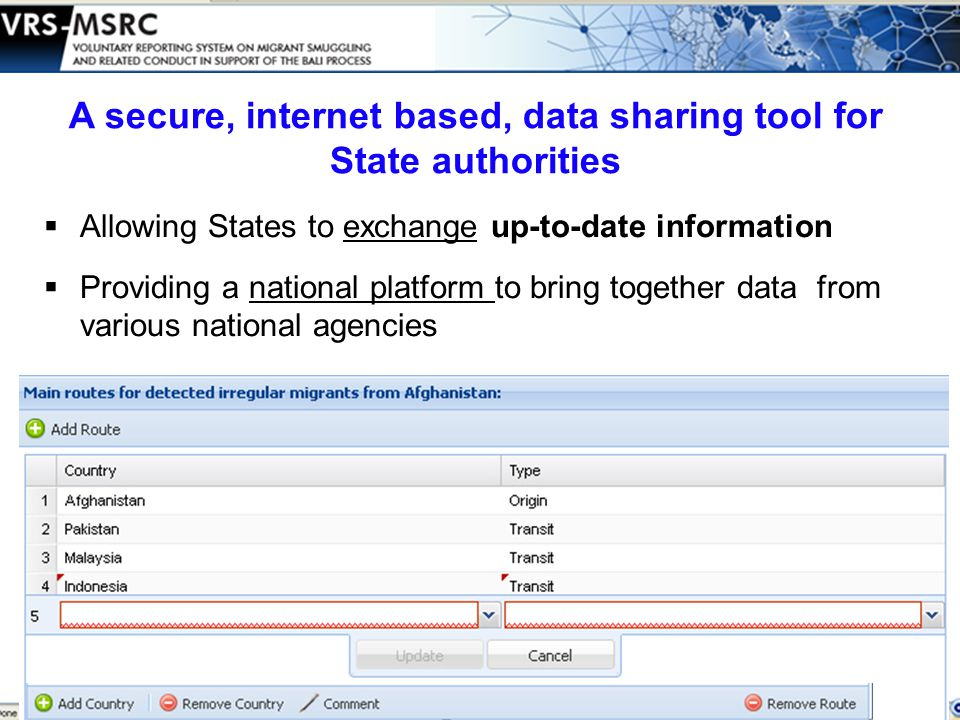  Allowing States to exchange up-to-date information  Providing a national platform to bring together data from various national agencies A secure, internet based, data sharing tool for State authorities