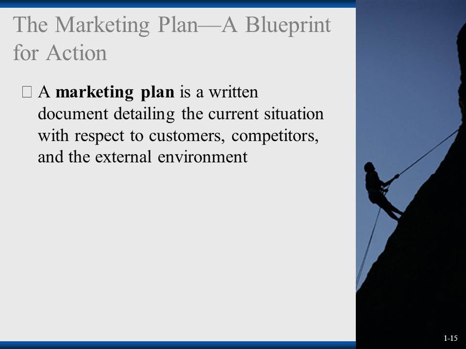 1-15 The Marketing Plan—A Blueprint for Action  A marketing plan is a written document detailing the current situation with respect to customers, competitors, and the external environment
