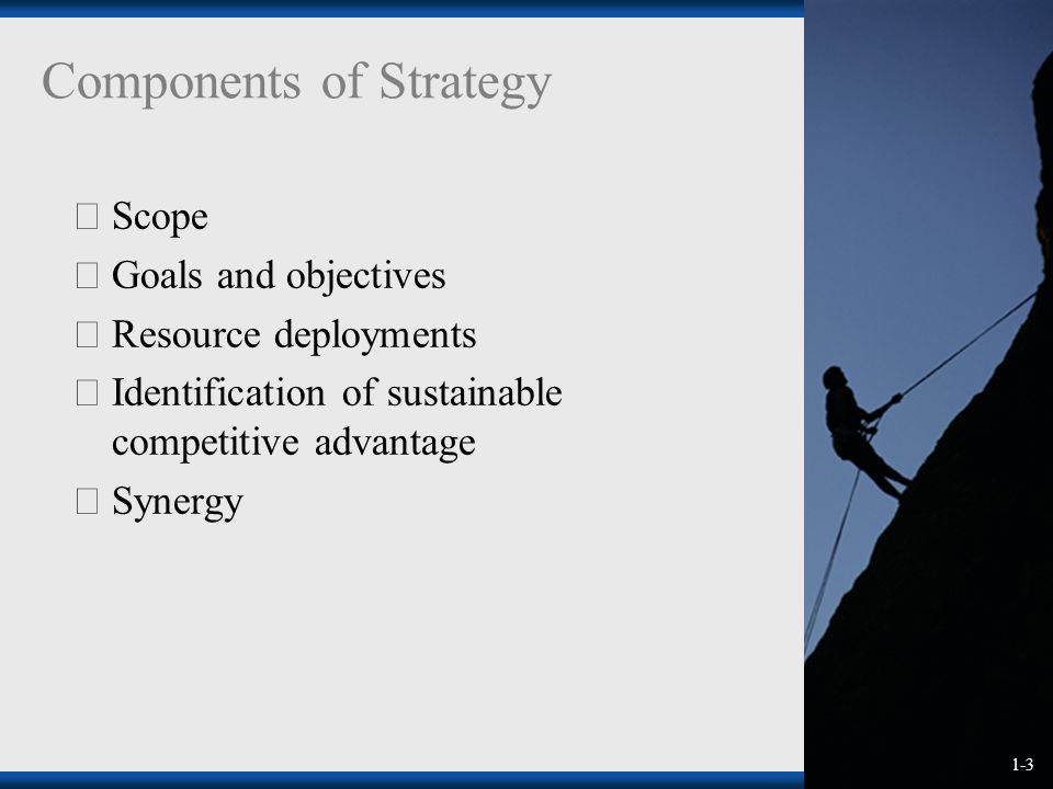 1-3  Scope  Goals and objectives  Resource deployments  Identification of sustainable competitive advantage  Synergy Components of Strategy