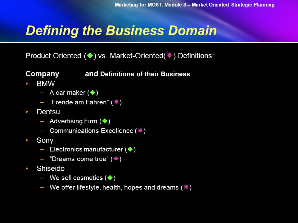Marketing for MOST: Module 3 – Market Oriented Strategic Planning Defining the Business Domain What is your business.