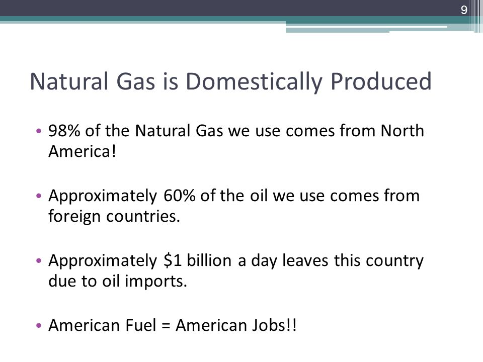 Natural Gas is Domestically Produced 98% of the Natural Gas we use comes from North America.