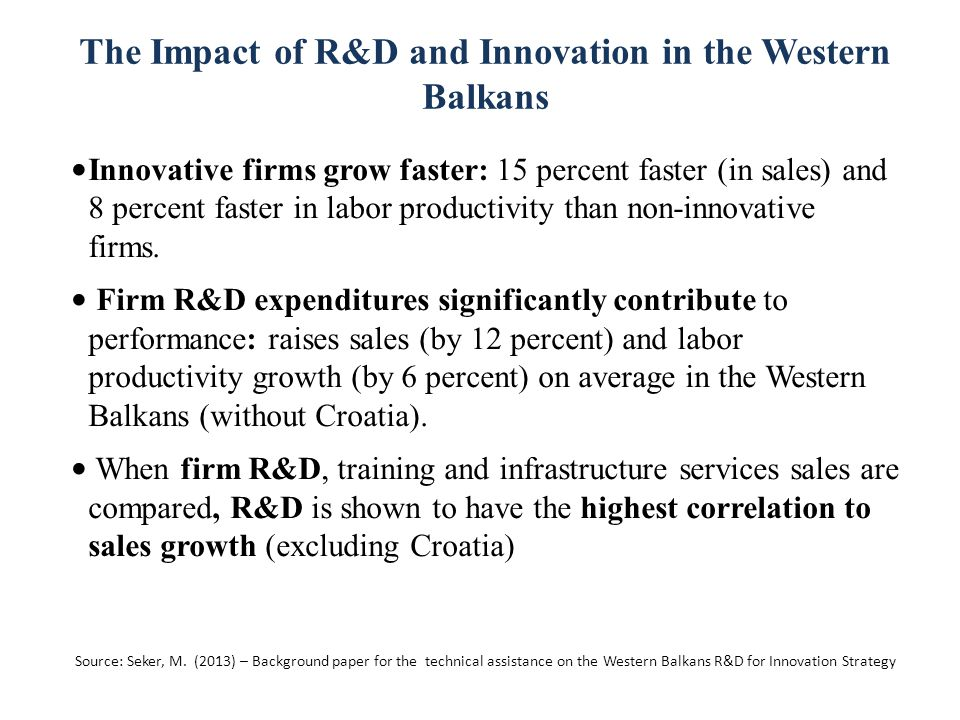 The Impact of R&D and Innovation in the Western Balkans Innovative firms grow faster: 15 percent faster (in sales) and 8 percent faster in labor productivity than non-innovative firms.