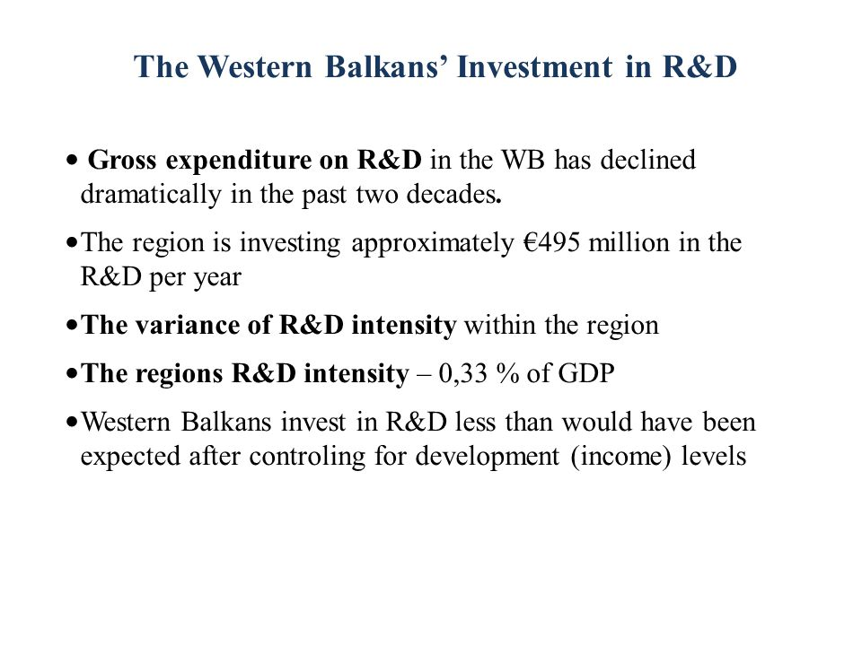 The Western Balkans' Investment in R&D Gross expenditure on R&D in the WB has declined dramatically in the past two decades.