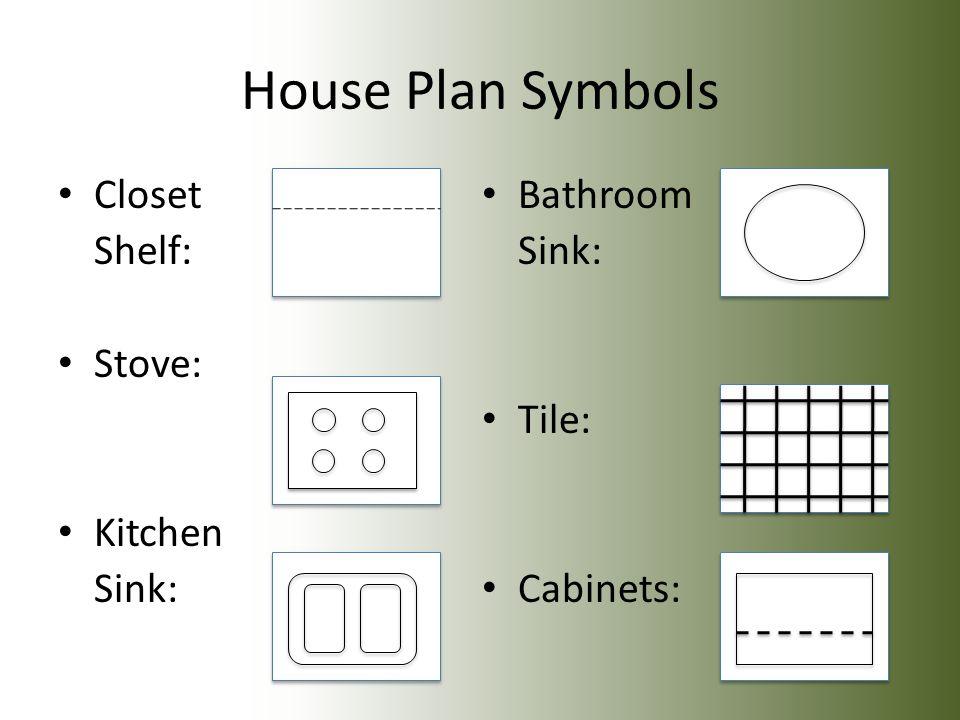3 House Plan Symbols Closet Shelf Stove Kitchen Sink Bathroom Tile Cabinets