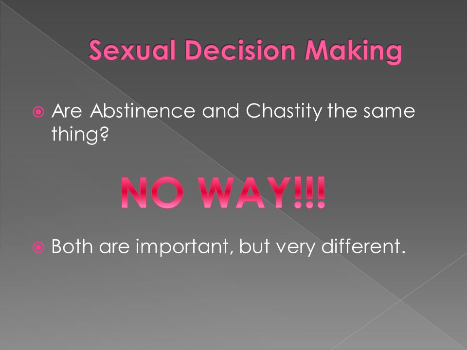  Are Abstinence and Chastity the same thing  Both are important, but very different.