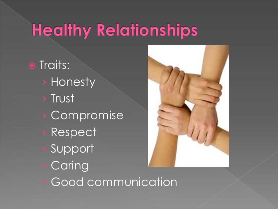  Traits: › Honesty › Trust › Compromise › Respect › Support › Caring › Good communication