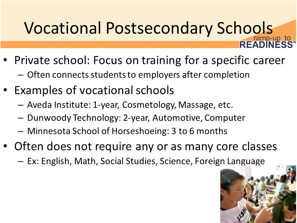 Vocational Postsecondary Schools Private school: Focus on training for a specific career – Often connects students to employers after completion Examples of vocational schools – Aveda Institute: 1-year, Cosmetology, Massage, etc.