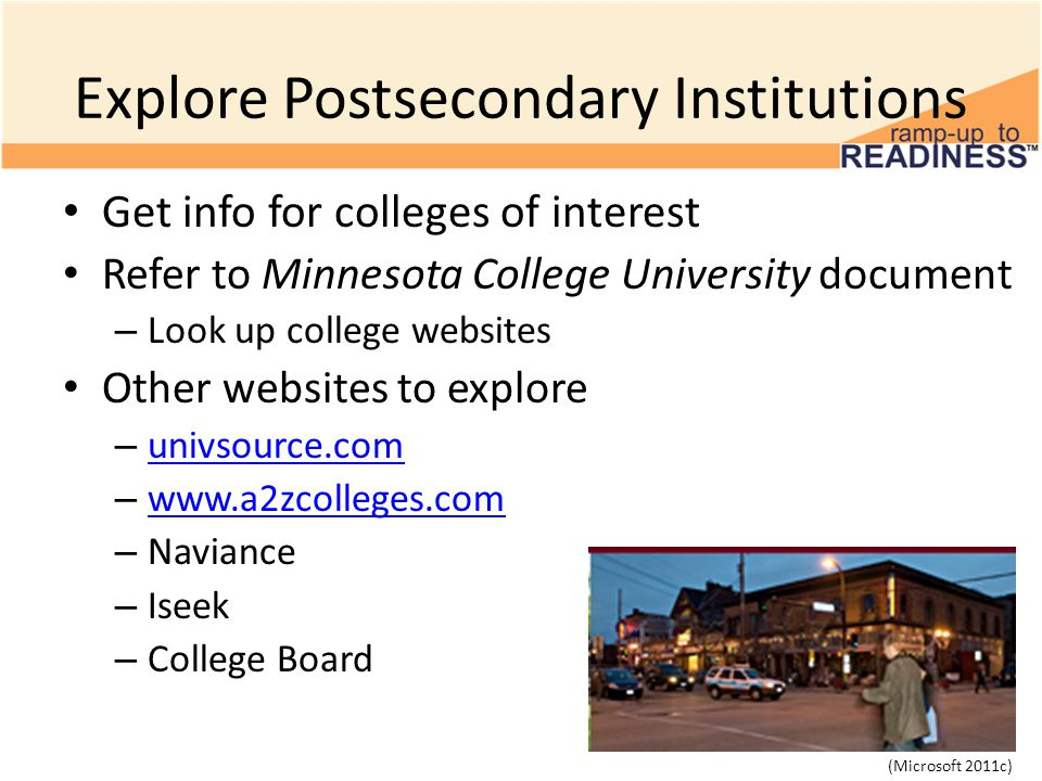 Explore Postsecondary Institutions Get info for colleges of interest Refer to Minnesota College University document – Look up college websites Other websites to explore – univsource.com univsource.com –     – Naviance – Iseek – College Board (Microsoft 2011c)