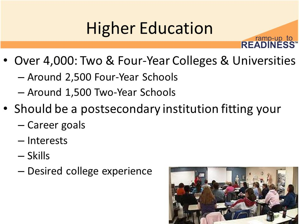 Higher Education Over 4,000: Two & Four-Year Colleges & Universities – Around 2,500 Four-Year Schools – Around 1,500 Two-Year Schools Should be a postsecondary institution fitting your – Career goals – Interests – Skills – Desired college experience