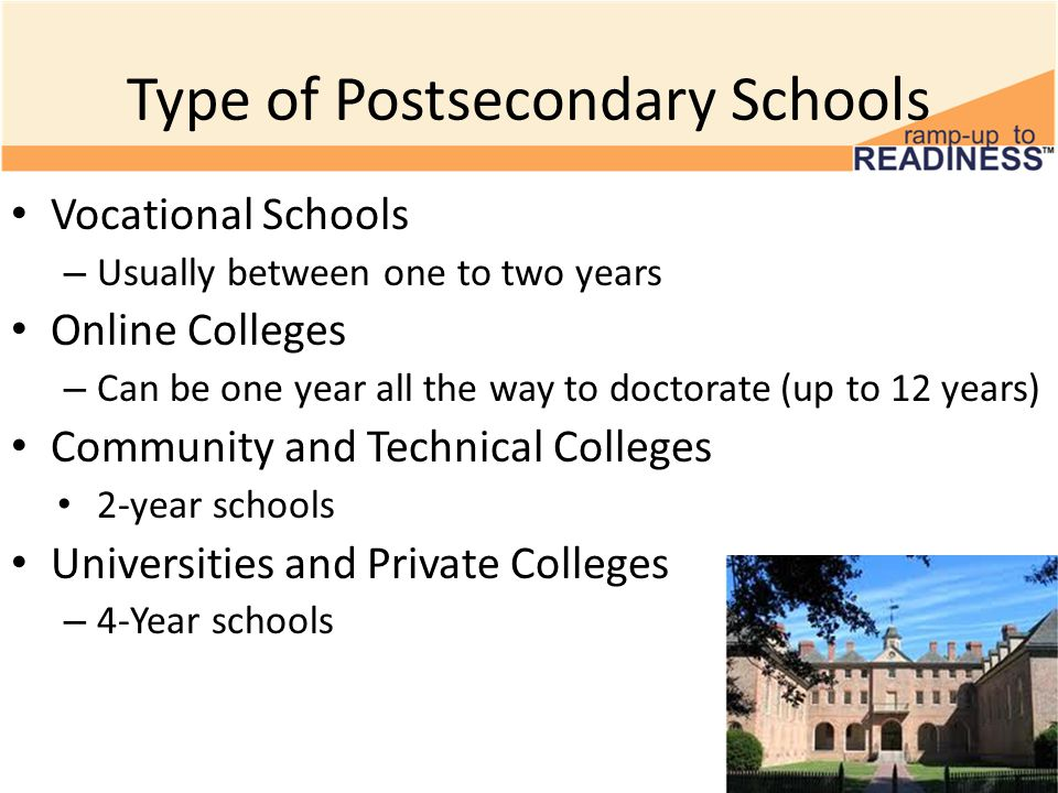 Type of Postsecondary Schools Vocational Schools – Usually between one to two years Online Colleges – Can be one year all the way to doctorate (up to 12 years) Community and Technical Colleges 2-year schools Universities and Private Colleges – 4-Year schools