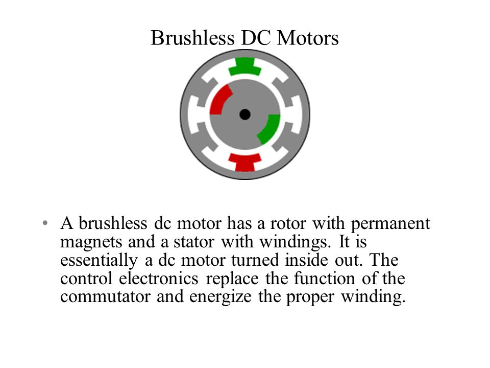 Brushless DC Motors A brushless dc motor has a rotor with permanent magnets and a stator with windings.