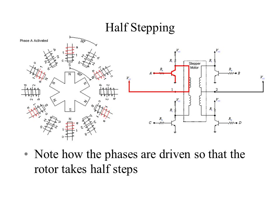 Half Stepping Note how the phases are driven so that the rotor takes half steps