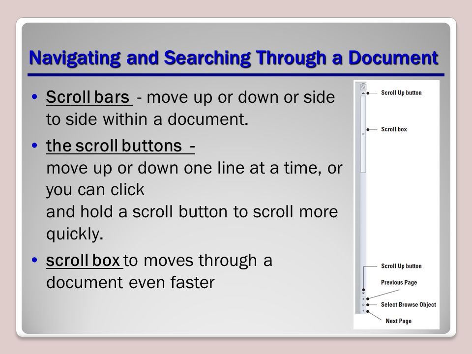 Navigating and Searching Through a Document Scroll bars - move up or down or side to side within a document.