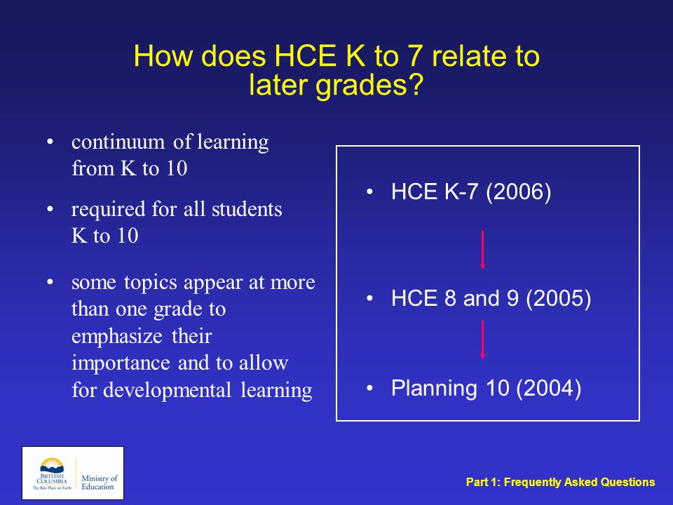 How does HCE K to 7 relate to later grades.