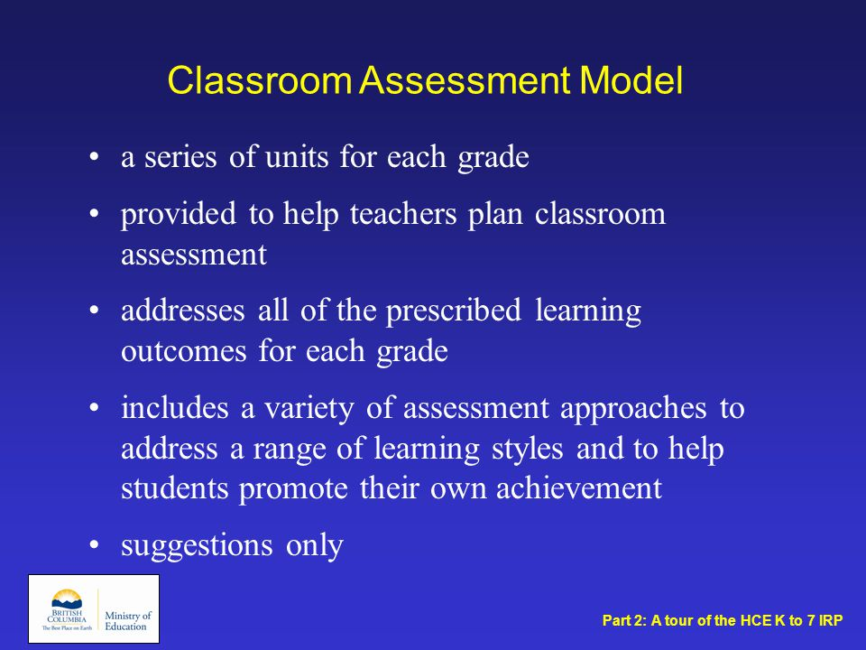 Classroom Assessment Model a series of units for each grade provided to help teachers plan classroom assessment addresses all of the prescribed learning outcomes for each grade includes a variety of assessment approaches to address a range of learning styles and to help students promote their own achievement suggestions only Part 2: A tour of the HCE K to 7 IRP