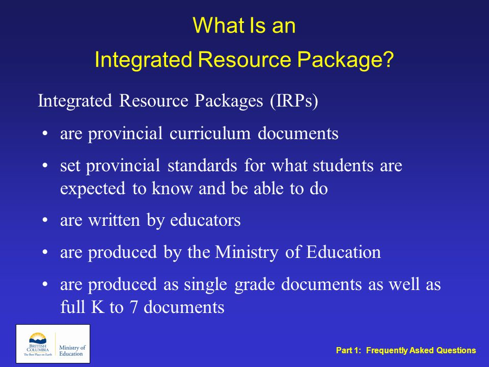 What Is an Integrated Resource Package.