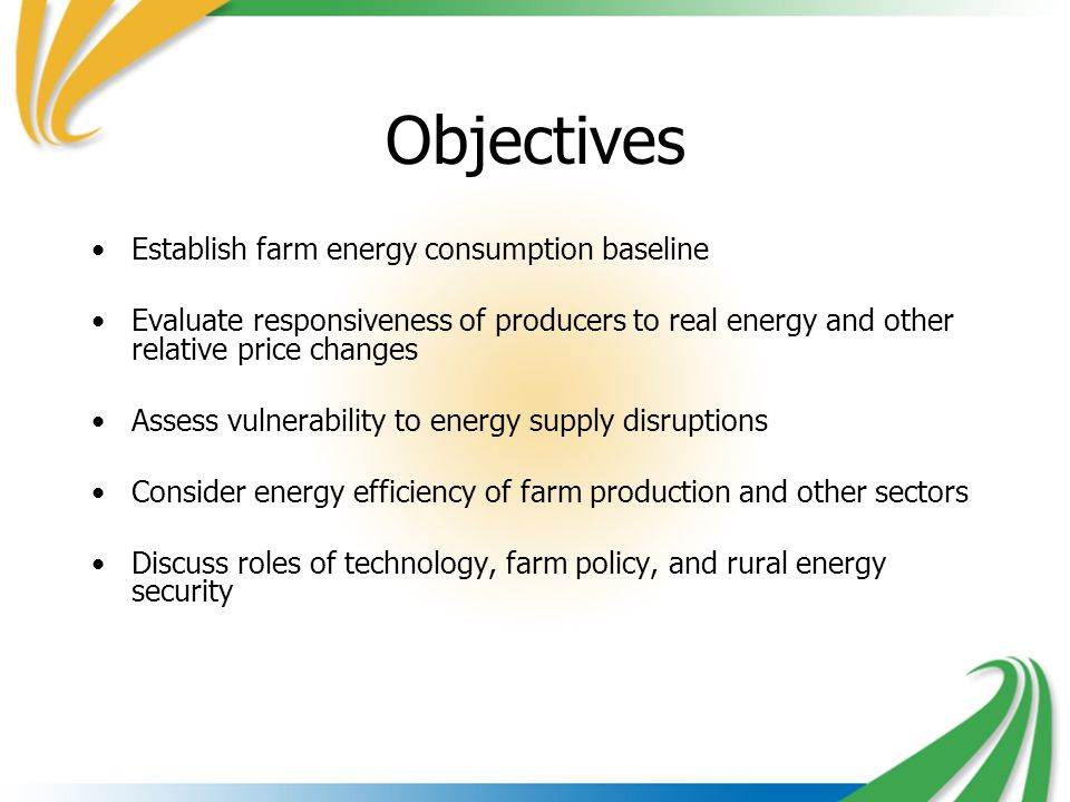 Objectives Establish farm energy consumption baseline Evaluate responsiveness of producers to real energy and other relative price changes Assess vulnerability to energy supply disruptions Consider energy efficiency of farm production and other sectors Discuss roles of technology, farm policy, and rural energy security