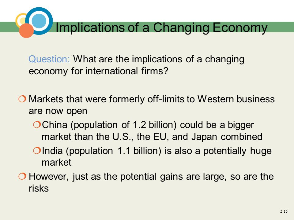 2-15 Implications of a Changing Economy Question: What are the implications of a changing economy for international firms.