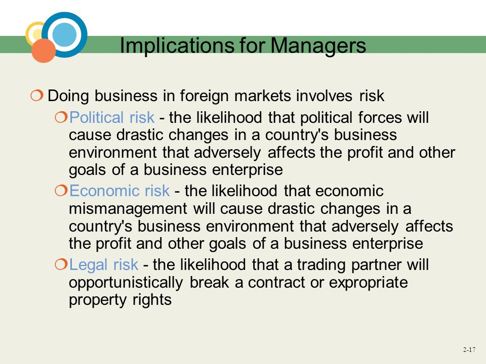 2-17 Implications for Managers  Doing business in foreign markets involves risk  Political risk - the likelihood that political forces will cause drastic changes in a country s business environment that adversely affects the profit and other goals of a business enterprise  Economic risk - the likelihood that economic mismanagement will cause drastic changes in a country s business environment that adversely affects the profit and other goals of a business enterprise  Legal risk - the likelihood that a trading partner will opportunistically break a contract or expropriate property rights