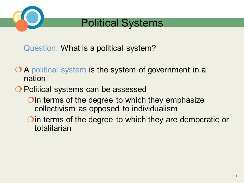 2-4 Political Systems Question: What is a political system.