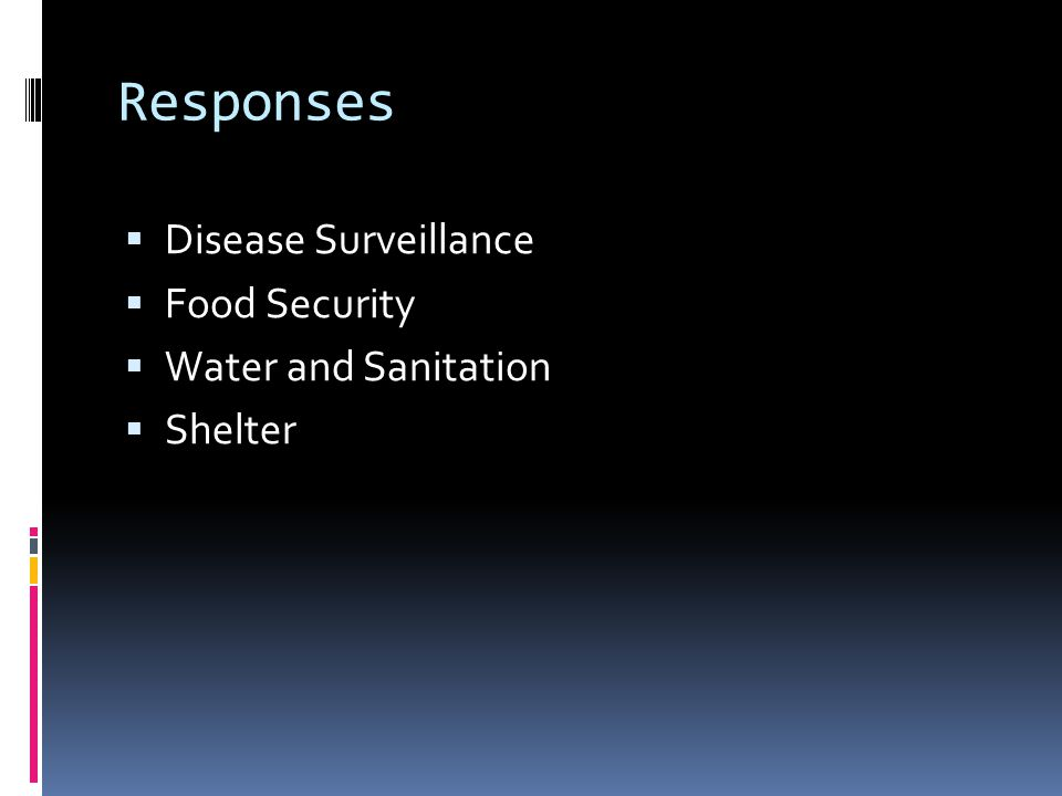 Responses  Disease Surveillance  Food Security  Water and Sanitation  Shelter
